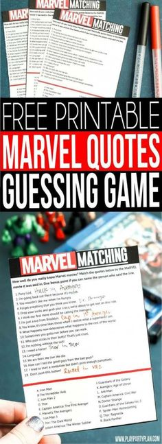 Get ready for Marvel's Avengers Infinity War this May with this fun MARVEL movie quotes game! See if you can guess match quotes with movies and the characters who said them! Everything from funny quotes to the more serious ones from everyone's favorite su Avengers Games, Marvel Games, Avengers Quotes, Marvel Quotes, Marvel Movies, Marvel Avengers, Movie Quotes, Funny Quotes, Birthday Card Sayings