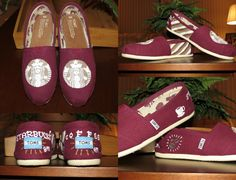 CHOOSE YOUR COLOR Starbucks Fanatic Tan/White/Gold Hand-Painted Toms on Etsy, $85.95