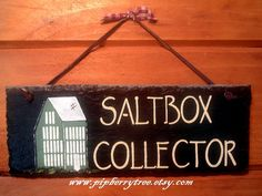 Hand Painted Decorative Slate  Saltbox Collector by Pipberrytree, $15.00