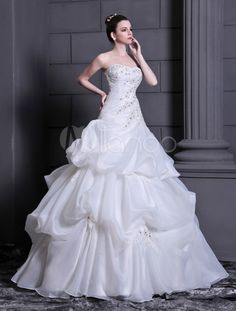 Ball Gown Strapless Pleated Organza White Brides Wedding Dress - Milanoo.com