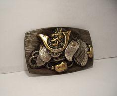 Japanese Dragon Belt Buckle, Samurai Dragon, Japanese Silver Buckle, Repousse Silver Buckle, Gilt Silver, Unusual, Vintage by Oldtreasuretrunk on Etsy
