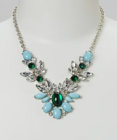 Look what I found on #zulily! Silver & Emerald Crystal Feather Bib Necklace by Sorta Southern Boutique #zulilyfinds