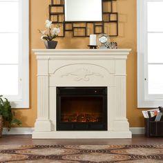 Sicilian Harvest Ivory Electric Fireplace.