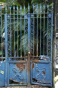 rusting garden gate, Santa Teresa district, Rio de Janeiro, Brazil