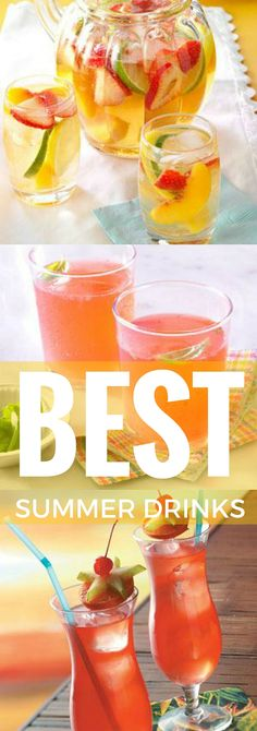 Best Summer Drinks from Taste of Home including: Passion Fruit Hurricanes, Blue Lagoon Margaritas, Blackberry Beer Cocktail, Quick White Sangria and more!