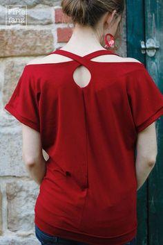 Tutorial für einen eleganten Rücken, ausprobiert am Shirt Jella von Konfettipatterns