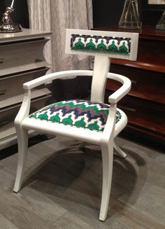 Totally vibing on this Thom Filicia chair! Greek Peak white #lacquer arm chair in cut velvet on linen in emerald & navy. Color palette is 100% on trend with the navy & the 2013 color of the year  - Emerald!  Fun fabric & sexy silhouette make a fab style statement! 301 N Hamilton #hpmkt #stylespotters