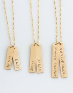 Vertical Bar Necklace, Name Bar Necklace, Personalized, Kids Name Necklace, Bridesmaid Gift, Anniversary Gift, Gift for Her,LEILAJewelryShop