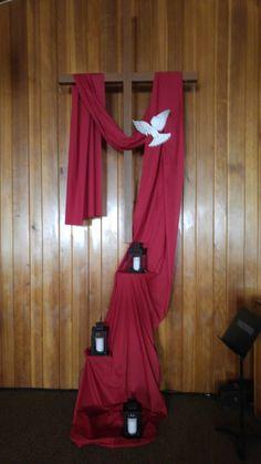 Draped cross for Pentecost