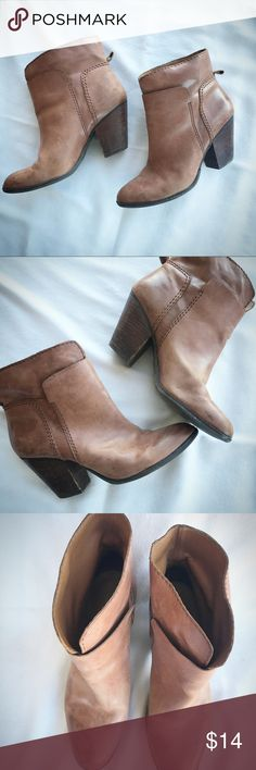 Nine West leather booties size 8.5 Well broken-in brown leather booties.  The more wear they get, the better they look!  Great staple piece for fall! Nine West Shoes Ankle Boots & Booties