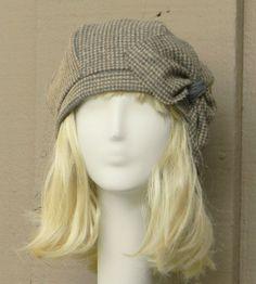 Beret Hat Vintage Brown Herringbone Wool with от Bellastarrhats