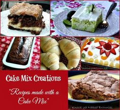 Over 40 Cake Mix Recipes {Cake Mix Creations}.All of the recipes are recipes that utilize a cake mix as the main ingredient. Best Cake for you Cupcakes, Cake Mix Cookies, Cake Mix Recipes, Dessert Recipes, Cake Mixes, Great Recipes, Favorite Recipes, Recipe Ideas, 40th Cake