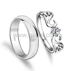 Engravable Angel Wings Mens Women Promise Rings Set