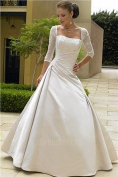 A-Line/Princess Square Court Train Satin Wedding Dress