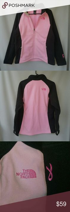 The North Face Denali Pink and Black Fleece Breast Cancer awareness ribbon on the bottom left sleeve ?????? Excellent condition  Feel free to ask me any additional questions! Bundles 3+ 15% off. Happy Poshing! No trades, or modeling. The North Face Jackets & Coats