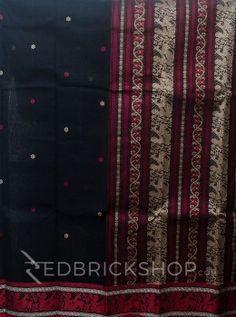 BALUCHORI BLACK-RED-CREAM COTTON SAREE