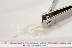 4 steps to removing acrylic nails at home... Without damaging your real nails - Use a pair of nail clippers to trim the acrylic nails down as much as you can... Continue reading: http://www.urbanewomen.com/4-steps-to-removing-acrylic-nails-at-home-without-damaging-your-real-nails.html
