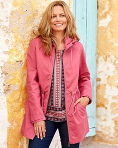 Cotton Traders Women's Parka Jacket in Pink Casual Coats For Women, Jackets For Women, Floral Print Design, Suits You, Parka, Cotton Fabric, Feminine, Leather Jacket, Sleeves
