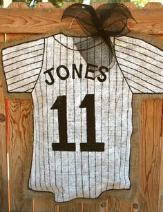 Baseball Jersey Burlap Door Hanger by stackhouseLA on Etsy, $30.00