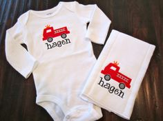 Fire Department Onesie & Burp Cloth by ChicADeeEmbroidery on Etsy, $22.00