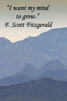 """""""I want my mind to grow."""" – F. Scott Fitzgerald – On February image of Tucson Mountains taken by Florence McGinn from patio of Phoebe's Café at Arizona Sonora Desert Museum – Learn about the Southwest and photograph its beauty.  Learn more at http://www.examiner.com/article/go-photograph-at-arizona-sonora-desert-museum"""