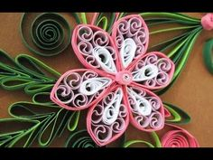 New : Art & Craft How to make Beautiful Quilling Pink/White Flower design -Paper Art Quilling - YouTube