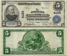 Banknotes of Maine (USA)  5 Dollars 21.8.1909 (Portland National Bank)