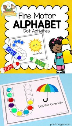 ALPHABET FINE MOTOR DOT PAGES! 52 page of fun, hands-on fine motor practice to help your preschool, pre-k, or kindergarten students learn the letters of the alphabet! Sensory Activities Toddlers, Motor Activities, Hands On Activities, Phonics For Kids, Toddler Preschool, Toddler Crafts, Learning The Alphabet, Student Learning, Toddler Pictures