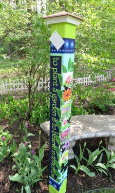 42 Colorful Peace Poles Design Ideas For Your Garden is part of Garden poles - Totems are made of cedar which can be used for many purposes Every totem figure represents an element in the […] Garden Crafts, Garden Projects, Garden Ideas, Outdoor Projects, Patio Ideas, Landscaping Ideas, Backyard Ideas, Wood Projects, Peace Pole