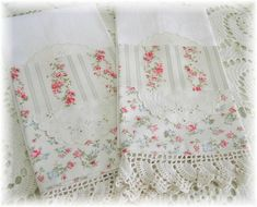 Love the shabby chic vintage pillow case with crochet edging and doily. Why not make one similar?