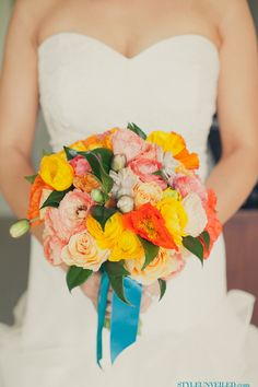 Orange and Yellow Bouquet with Teal Ribbon  Teal coral and yellow WILL be my wedding colors