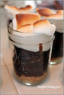 s'mores in a mason jar - might have to try, replacing chocolate cake with brownie