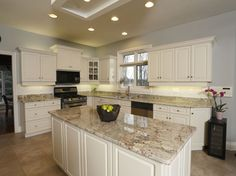 Exquisite Home Design With Sienna Bordeaux Granite: Fresh Kitchen Design With White Cabinet And Sienna Bordeaux Granite Also Recessed Lighting