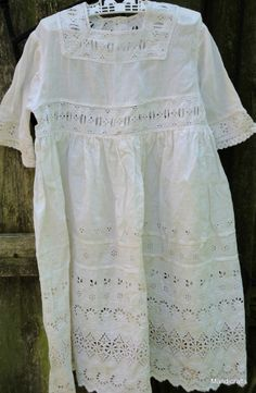 Christening Baby Gown Nightgown Steampunk Victorian Eyelet Cotton 36 mth Vintage