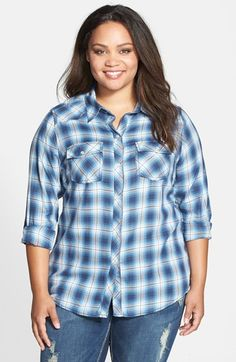 Seven7 Plaid Cotton Shirt (Plus Size) available at #Nordstrom