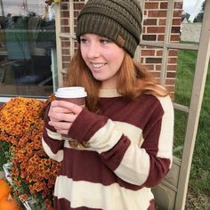 588c828ecd367 Look how adorable this cozy sweater and beanie combination is! We love this  fall color combination. This look is simple