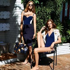 Tory Burch features navy blue swimwear in the new year.