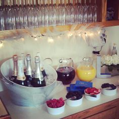 Mimosa bar for bridal shower that my bridesmaids did for my shower!