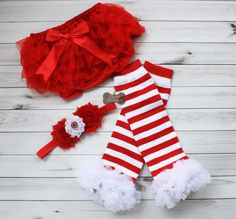Boutique Style-CHRISTMAS Leg warmers set-Ruffled by CutieCouture4u