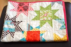 Closeup of star quilt