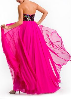 Fashionable Chiffon A-line Strapless Sweetheart Beaded Full Length Prom Dress