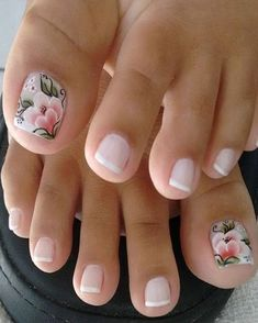 French pedicure with accent floral nail art. French pedicure with accent floral nail art. Pink Toe Nails, Pretty Toe Nails, Cute Toe Nails, Feet Nails, My Nails, Flower Toe Nails, Purple Nail, Green Nail, Colorful Nails