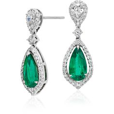 Blue Nile Pear-Shaped Emerald and Diamond Halo Dew Drop Earrings (60.325 VEF) ❤ liked on Polyvore featuring jewelry, earrings, blue nile, cocktail jewelry, blue nile jewelry, holiday earrings and evening earrings