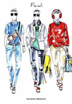 Fendi  Menswear Spring 2015. Fashion Illustration by Doryanna Popa.