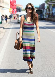 "asoslive: ""Italian actress Elisa Sednaoui shows us how to say sayonara to summer in her knitted striped midi and sandals at the Venice Film Festival. Love. """