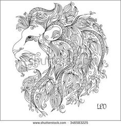 Pattern for coloring book. Hand drawn line flowers art of zodiac Leo. Horoscope symbol for your use. For tattoo art, coloring books set. Henna Mehndi Tattoo Ethnic Zentangle Doodles style.