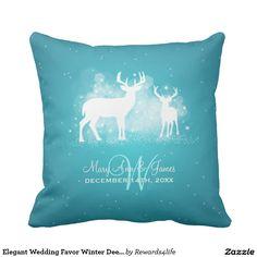 Elegant Wedding Favor Winter Deer Sparkle Turquois Pillow