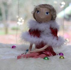 Cloth Doll Christmas Girl OOAK  ready to ship by FancyDolls, $130.00 #clothdoll #artdoll #handmade #sewing #doll