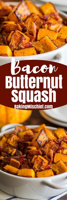 ThisRoasted Bacon and Butternut Squash Side Dish is the perfect easy, no-fail fall side. | Easy Side Dishes | Recipes for Two | #FallRecipes |