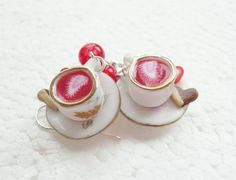 Valentine Teacup Earrings. Polymer clay. by GiraffesKiss on Etsy